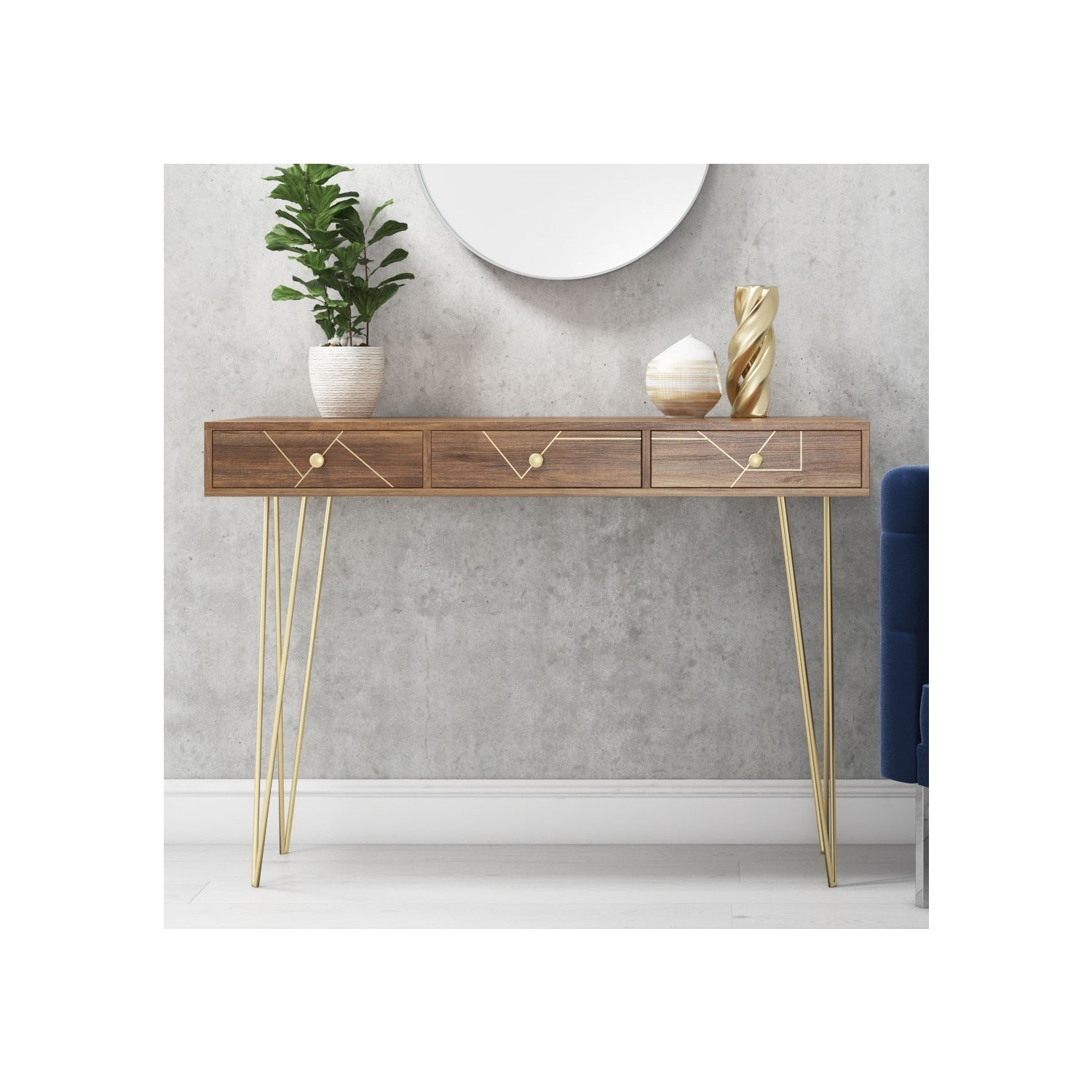 pretty nice 39dde 5b256 Details about Modern Industrial Console Table 3 Drawer Storage Wood Hairpin  Legs Hall Desk