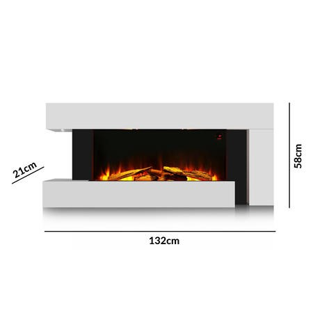 AmberGlo White Electric Wall Mounted Fireplace Suite with Log/Pebble Fuel Bed