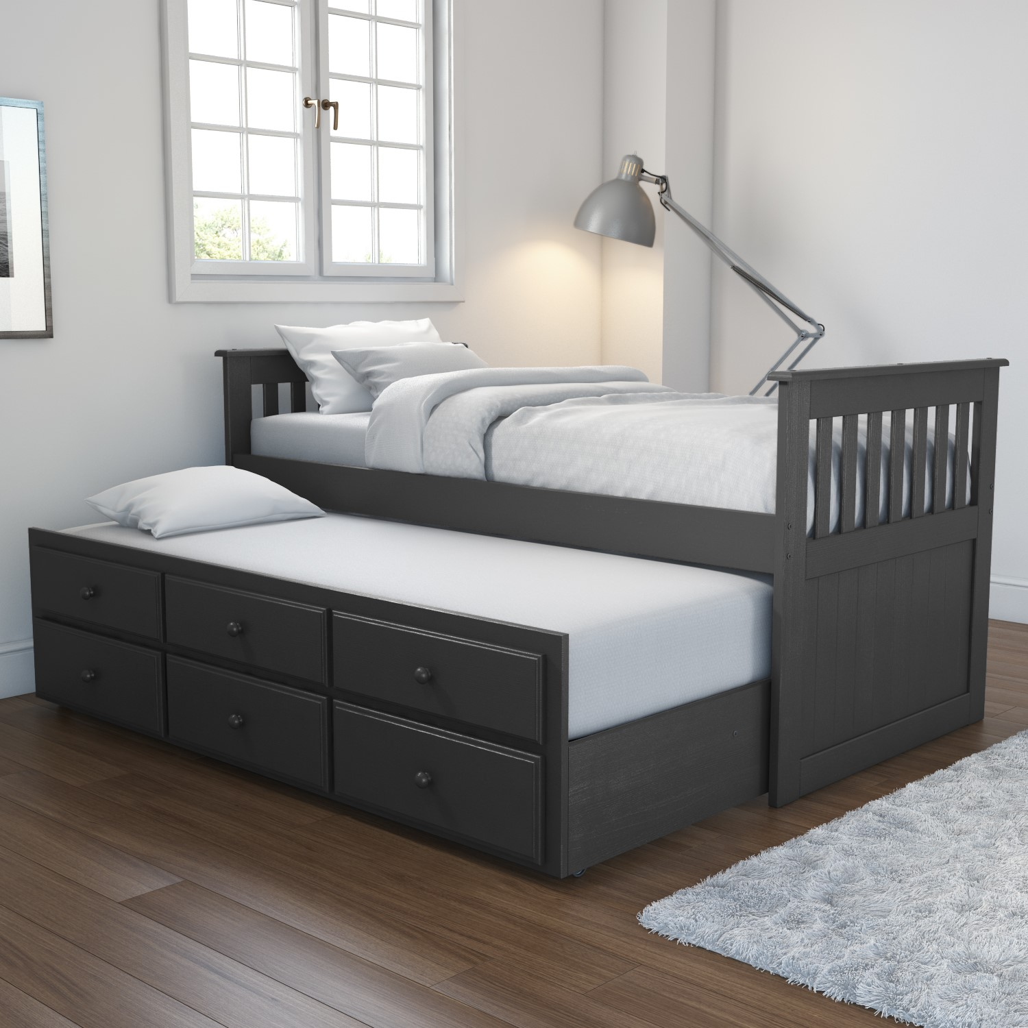 Wido White Wooden 3ft Single Bed With Pull Out Under Bed Mattress Under Trundle Home Kitchen Beds Frames Bases