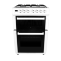 electriQ 60cm Dual Fuel Cooker with Double Oven - White