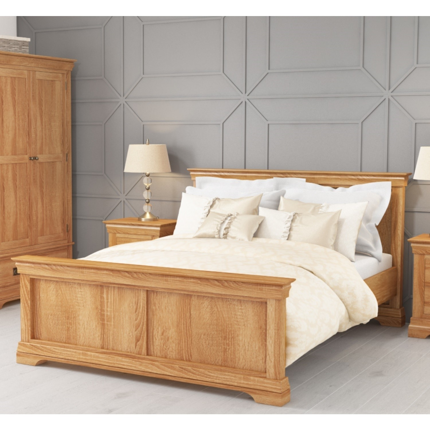 watch 3c5a4 6358c Details about Solid Oak Wood King Size Bed Frame Wooden 5ft Farmhouse Style