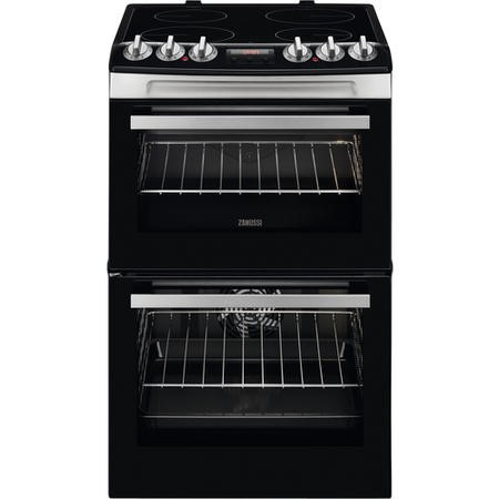 Zanussi ZCV46250XA 55cm Double Oven Electric Cooker With Ceramic Hob - Stainless Steel