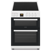 electriQ 60cm Double Cavity Electric Cooker with Ceramic Hob - White Best Price, Cheapest Prices