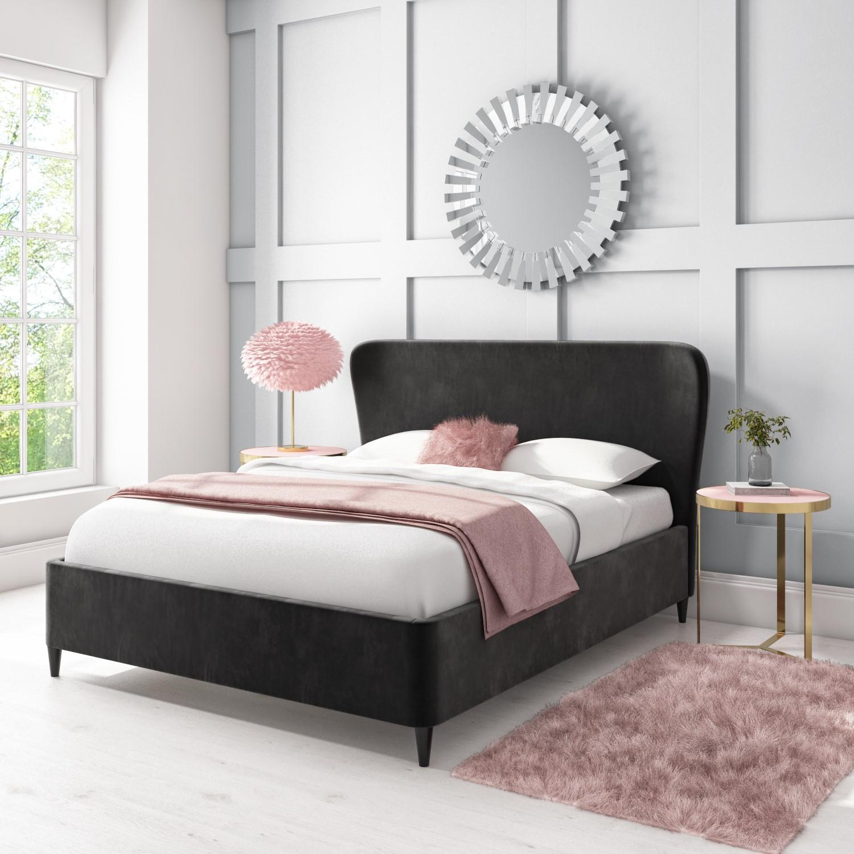 Margot King Size Ottoman Bed With Curved Headboard In Dark Grey Velvet Mag004 Ebay