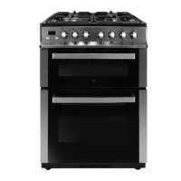 Refurbished electriQ 60cm Double Oven Dual Fuel Cooker - Stainless Steel