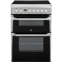 Indesit 60cm Double Oven Electric Cooker with Ceramic Hob - Stainless Steel Best Price, Cheapest Prices