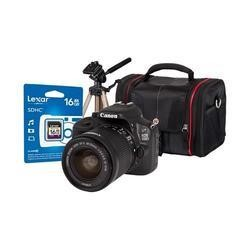 Canon EOS 100D DSLR Camera + EF-S 18-55mm IS Lens + 16GB SD Card + Desktop Tripod + Camera Bag
