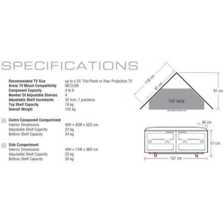 graphic about Bdi Ii Printable called BDI Avion II 8925 Tv set Cupboard - Up towards 55 Inch