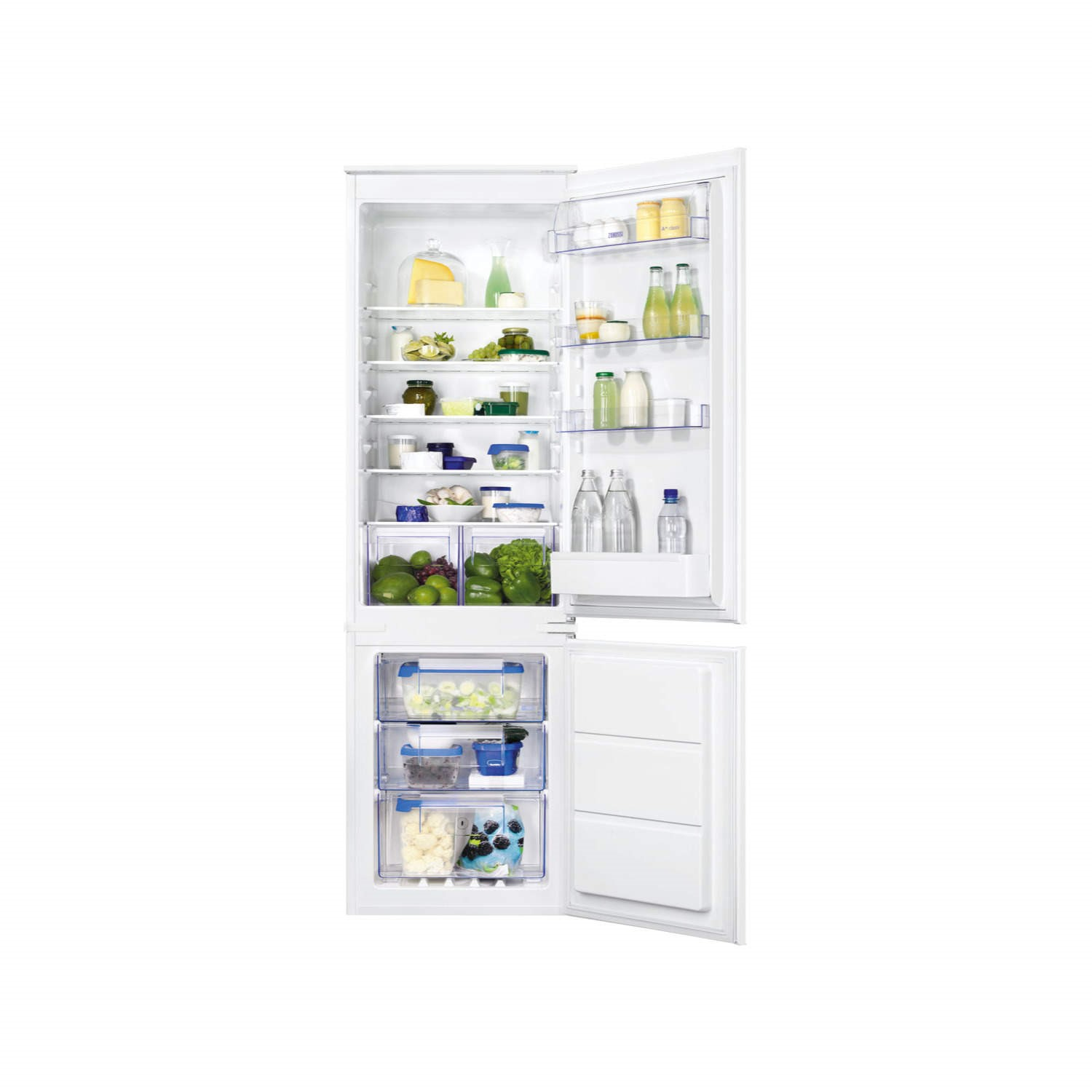 zanussi zbb28651sa 54cm wide frost free integrated upright fridge freezer white - Frost Free Freezer