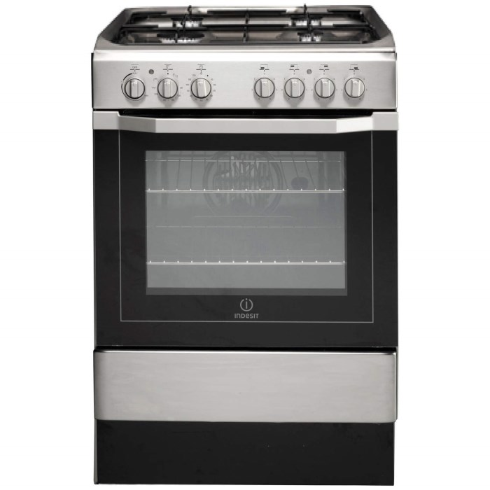 Indesit I6G52X 60cm Wide Single Oven Dual Fuel Cooker - Stainless ...