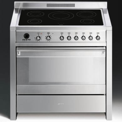 A1PYID-7 Smeg A1PYID-7 Opera 90cm Electric Range Cooker With Induction Hob - Stainless Steel