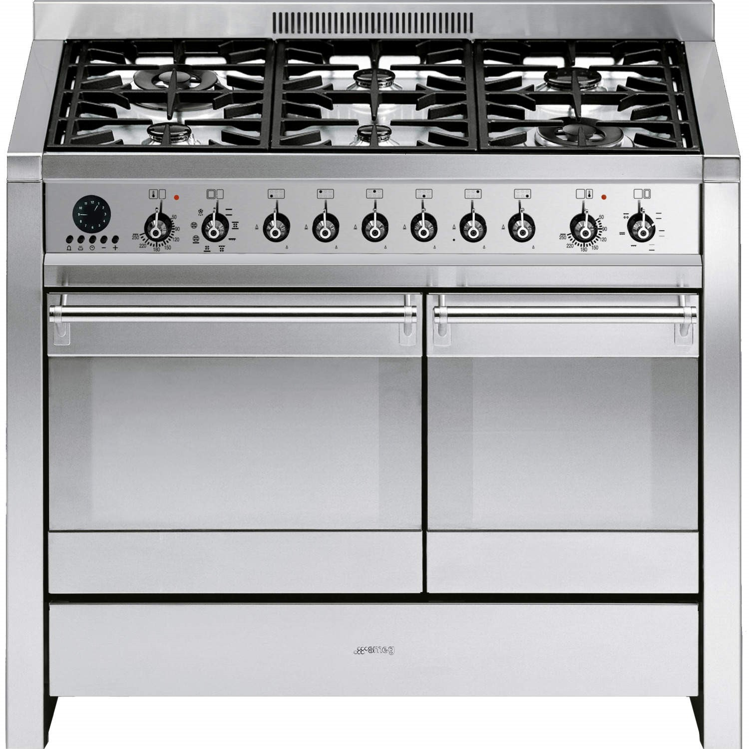 smeg a2 8 opera 100cm dual fuel range cooker in stainless steel