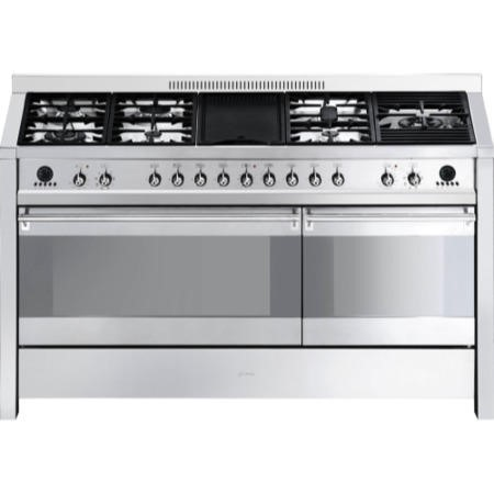 Smeg A5-8 Opera Dual Cavity 150cm Dual Fuel Range Cooker with Electric Griddle - Stainless Steel