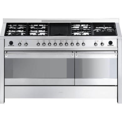 77242458/1/A5-8 GRADE A2 - Light cosmetic damage - Smeg A5-8 Opera Dual Cavity 150cm Dual Fuel Range Cooker with Electric Griddle - Stainless Steel