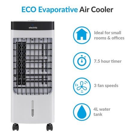 GRADE A1 - Slimline Portable 6L Evaporative Air Cooler with built-in Air Purifier