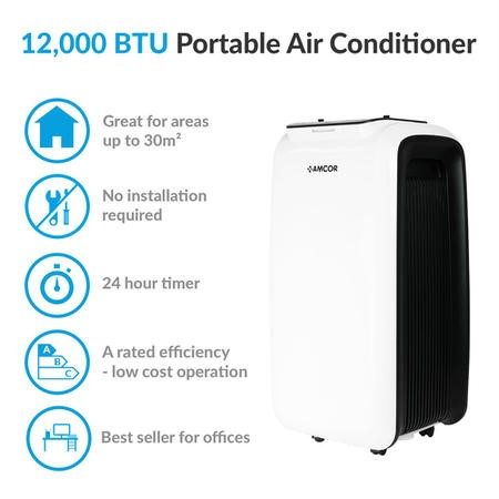 Amcor 12000 BTU Portable Air Conditioner for rooms up to 30 sqm