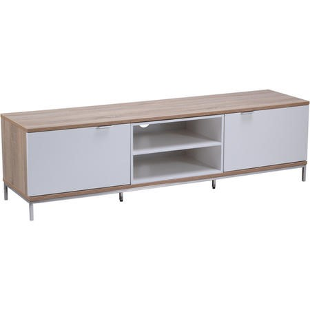 "Alphason ADCH1600-WHT Chaplin TV Cabinet for up to 72"" TVs - White/Light Oak"