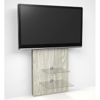 Wall Mounted TV Unit in Light Oak - TV's up to 80