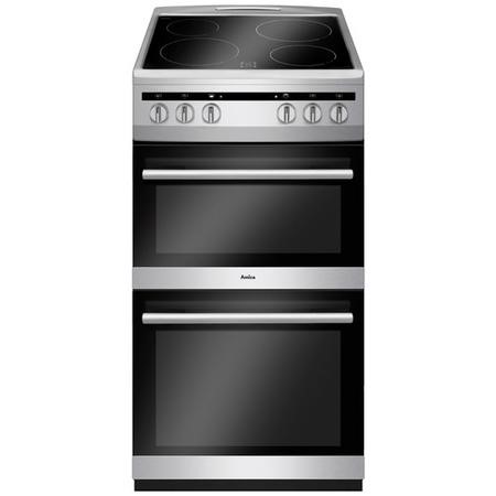 Amica AFC5100SI 50cm Electric Double Cavity Cooker With Ceramic Hob - Silver