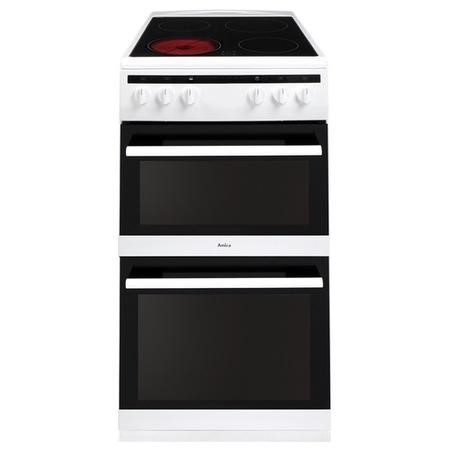 Amica AFC5100WH 50cm Double Cavity Electric Cooker With Ceramic Hob - White