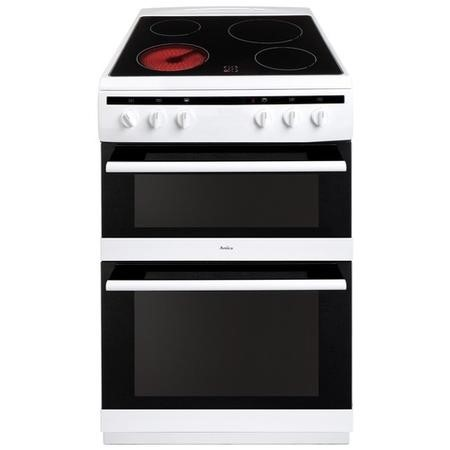 Amica AFC6520WH 60cm Electric Double Oven Cooker With Ceramic Hob - White