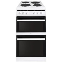 Amica AFS5500WH 50cm Double Cavity Electric Cooker With Solid Plate Hob - White Best Price, Cheapest Prices