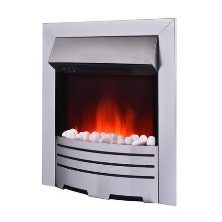 AmberGlo Electric Fireplace Insert in Brushed Steel with Coal/Pebble Fuel Bed