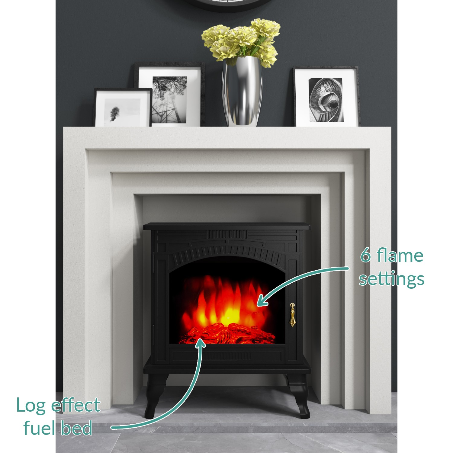 Electric Wood Stove ~ Grade a amberglo large electric wood burning stove fire