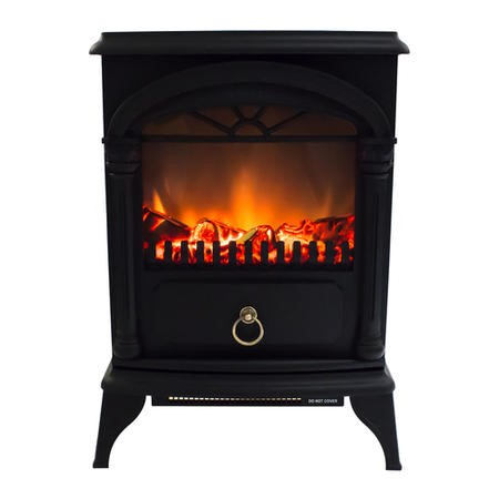 AmberGlo Electric Wood Burning Stove Fire - Black