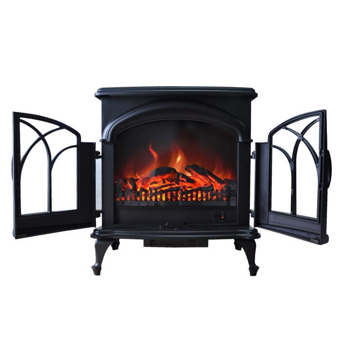 Amberglo Large Electric Stove In Black With Double Doors Log Effect Fuel Bed