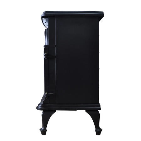 AmberGlo Large Double Door Electric Stove in Black with Log Effect Fuel Bed
