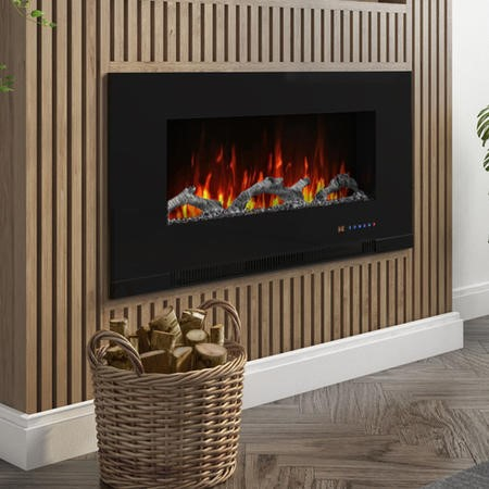 AmberGlo Black Wall Mounted Electric Fire with Logs & Crystal Fuel Beds