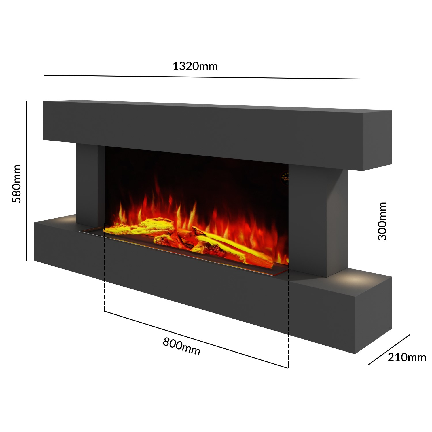 Amberglo Grey Wall Mounted Electric Fireplace Suite With Log Pebble Fuel Bed Agl010g Appliances Direct