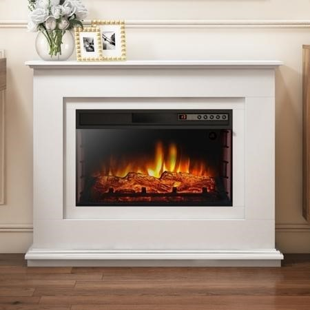 AmberGlo Electric Fireplace Suite with Inset Fire & White Surround - Lassen Range