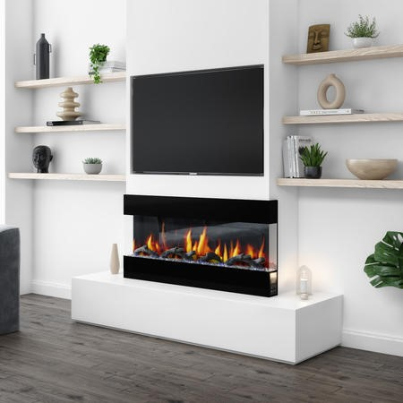 Mirrored Electric Wall Mounted Fire in Black - 42 Inch - AmberGlo