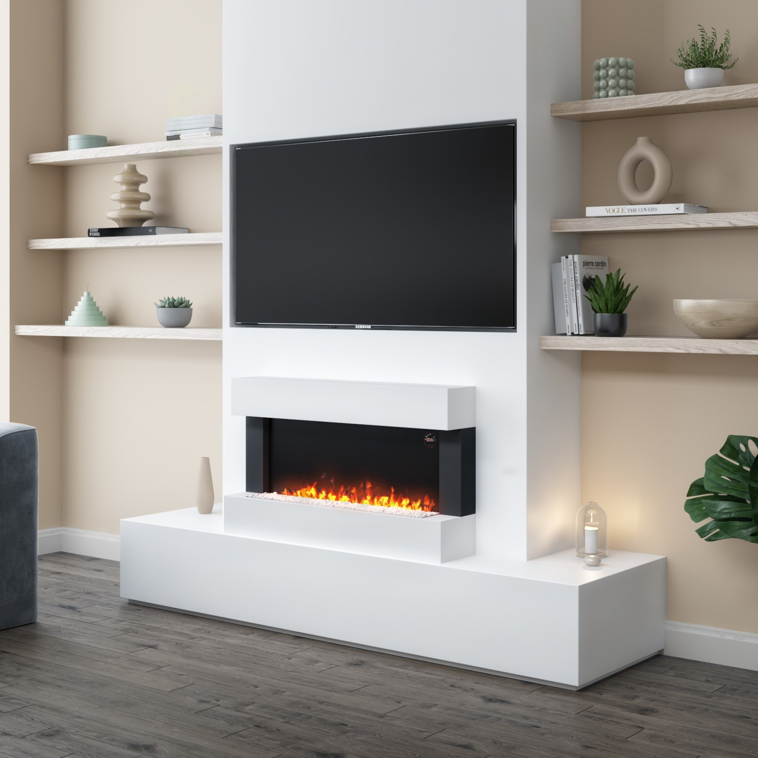 Amberglo White Wall Mounted Electric Fireplace Suite With Logs