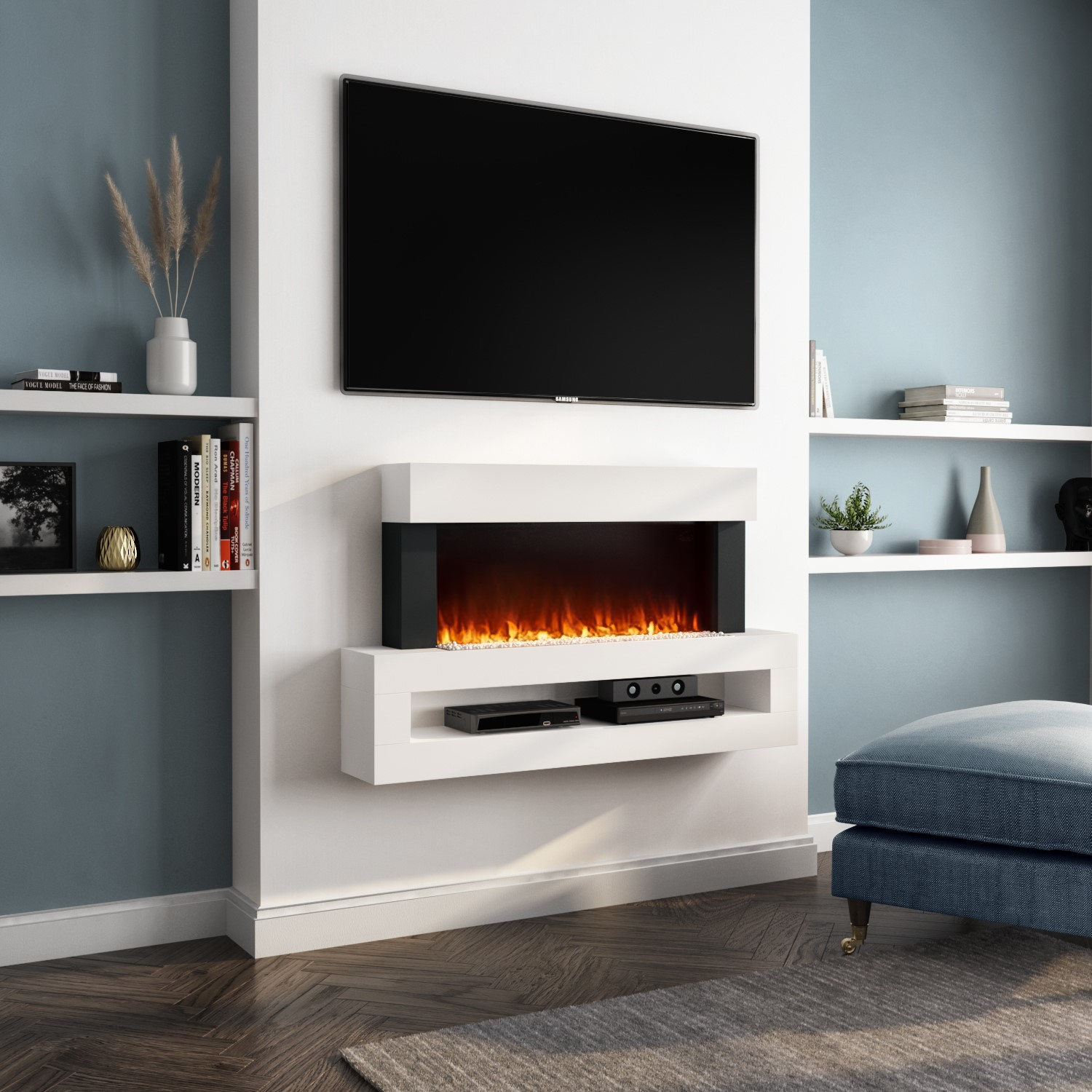 Amberglo White Wall Mounted Electric Fireplace Suite With Led