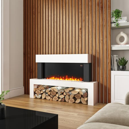 AmberGlo Floor Standing Electric Fireplace Suite in White - Log & Crystal Fuel Bed