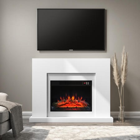 White Matte Electric Fire Suite with Surround - Amberglo