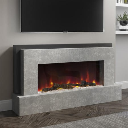 AmberGlo Smart Grey Electric Fire Suite - Wifi & Alexa Enabled