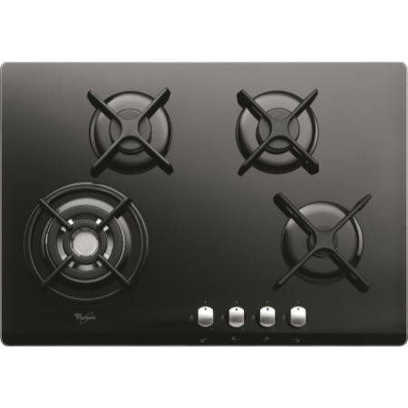 Whirlpool AKT466NB Origami Black Four Burner 75cm Gas-on-glass Hob