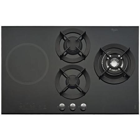 Whirlpool AKT477IX 77cm Gas and Induction Dual Fuel Hob in Black Glass with Stainless Steel Frame