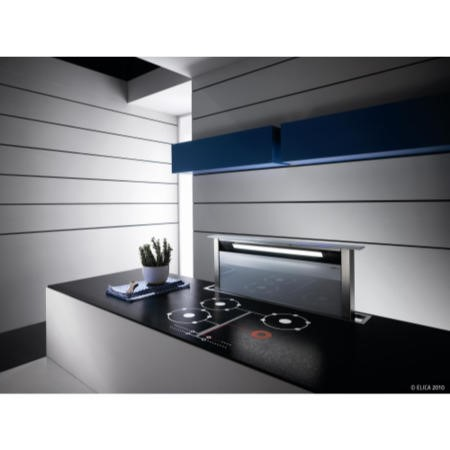 GRADE A2  - Elica ANDANTE60BL Andante Stainless Steel And Black Glass 60cm Downdraft Extractor
