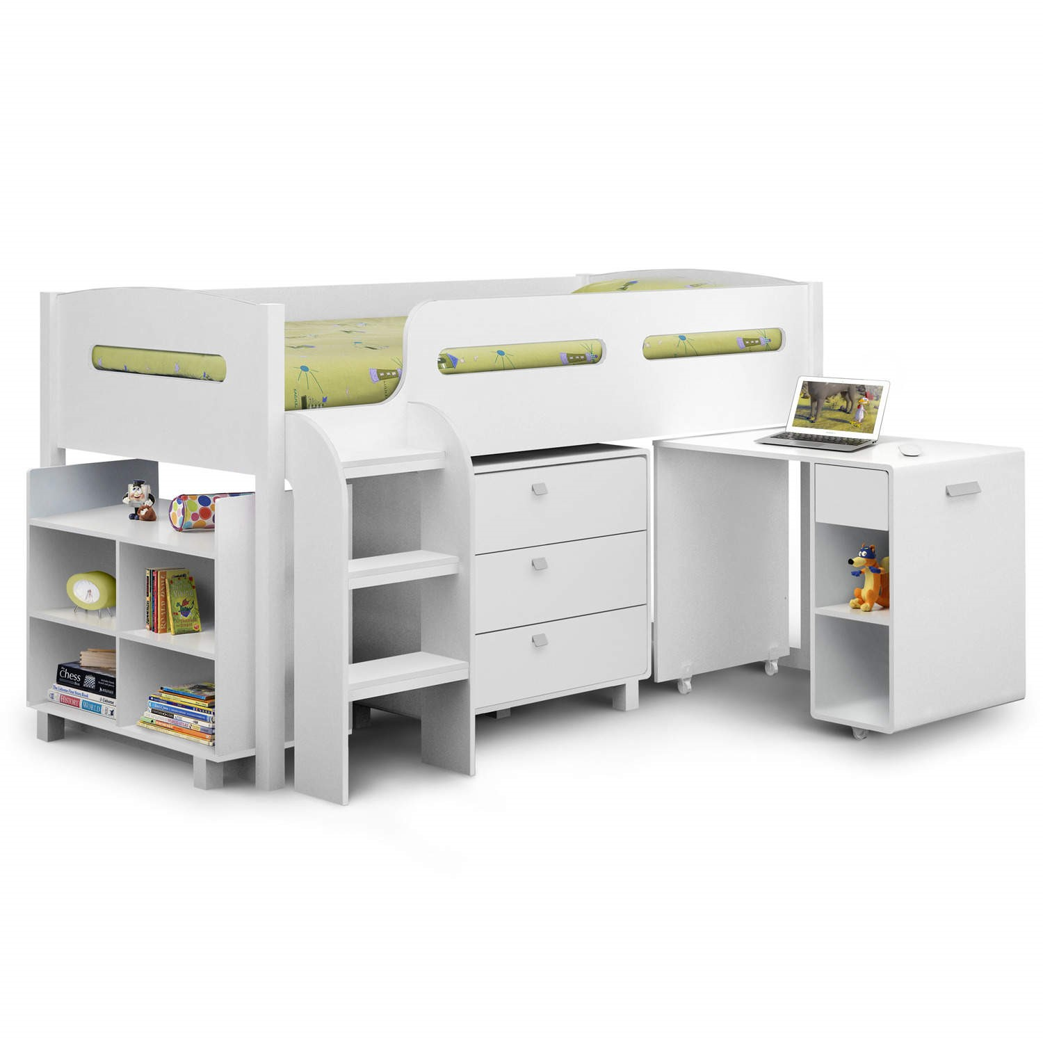 Picture of: Kids Mid Sleeper Cabin Bed With Pull Out Desk Single 3ft Ebay