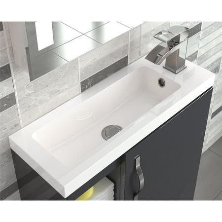 Grey Free Standing Compact Bathroom Vanity Unit & Basin - W405 x H850mm