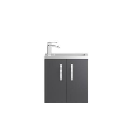 Grey Wall Hung Compact Bathroom Vanity unit & Basin - W505 x H540mm