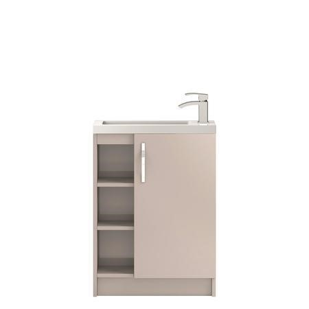 Cashmere Free Standing Compact Bathroom Vanity Unit and Basin - W605 x H850mm