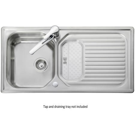 Leisure Sinks AQ9851 Rangemaster Aqualine 985x508 1.0 Bowl Reversible Stainless Steel Sink With Scrap Tray
