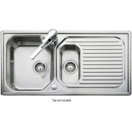 Leisure Sinks AQ9852 Rangemaster Aqualine 985x508 1.5 Bowl Reversible Stainless Steel Sink