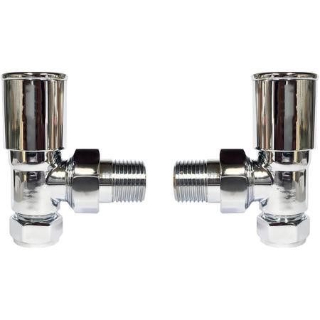 Pair of Angle Round Head Radiator Valves - Chrome